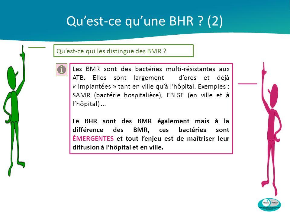 Quest-ce quune BHR ? (2) Quest-ce qui les distingue des BMR ? Les BMR sont des bactéries multi-résistantes aux ATB. Elles sont largement dores et déjà