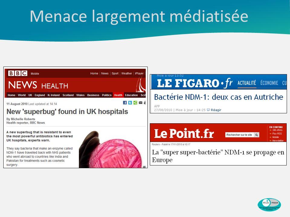 Bilan au 1 er avril 2013 Nombre dépisodes impliquant des entérobactéries productrices de carbapénèmases en France signalés à lInVS entre janvier 2004 et le 1 er avril 2013, selon la mise en évidence ou non dun lien avec un pays étranger (N=482).