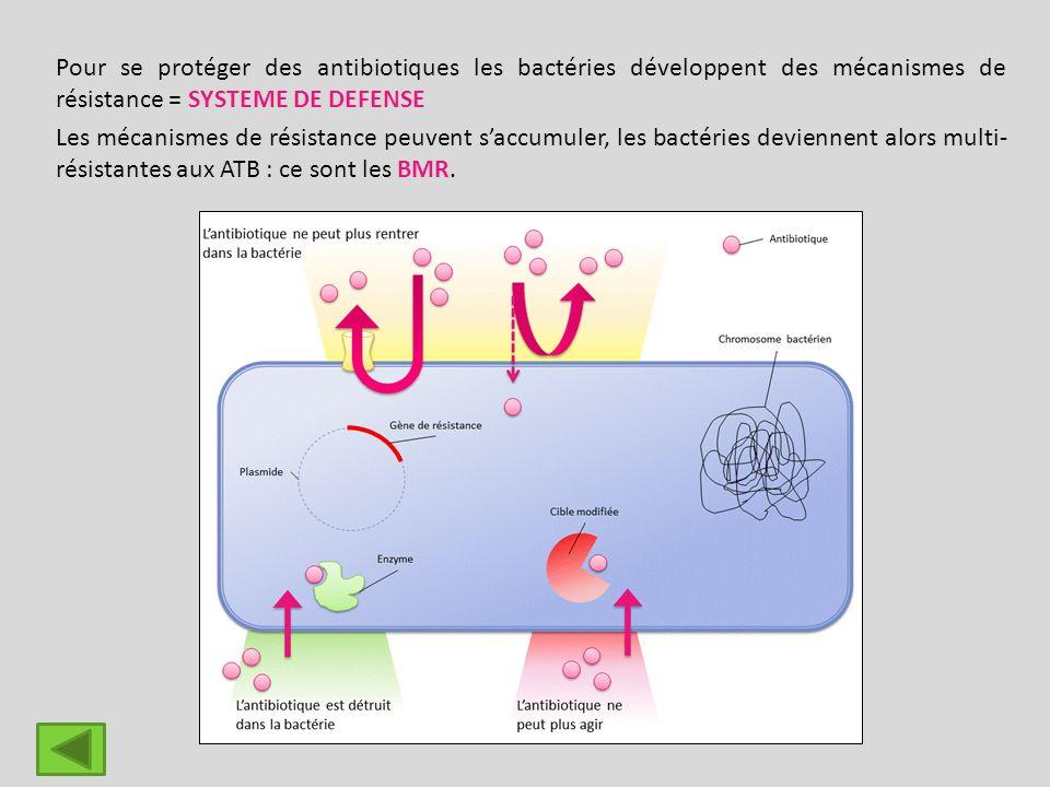 Pour se protéger des antibiotiques les bactéries développent des mécanismes de résistance = SYSTEME DE DEFENSE Les mécanismes de résistance peuvent sa
