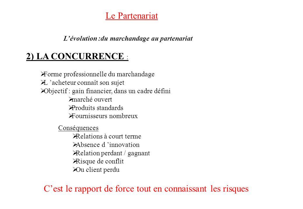 Le Partenariat 2) LA CONCURRENCE : Forme professionnelle du marchandage L acheteur connaît son sujet Objectif : gain financier, dans un cadre défini m
