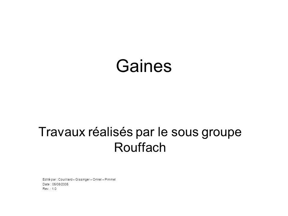 Gaines Travaux réalisés par le sous groupe Rouffach Edité par : Couilliard – Gissinger – Onkel – Pimmel Date : 05/08/2005 Rev. : 1.0