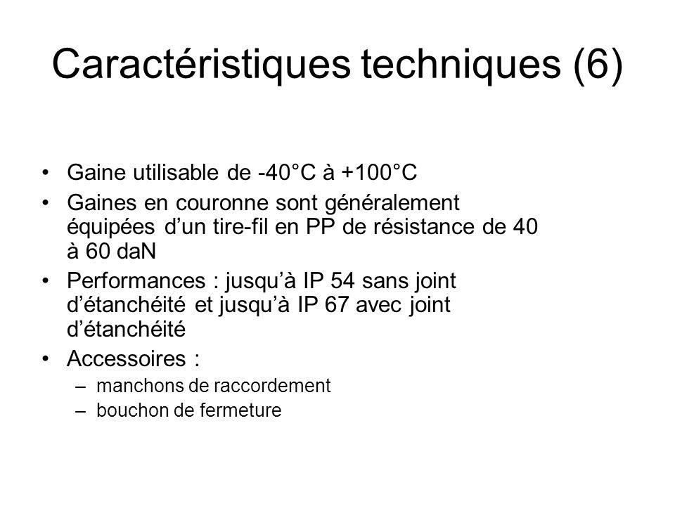 Gaine utilisable de -40°C à +100°C Gaines en couronne sont généralement équipées dun tire-fil en PP de résistance de 40 à 60 daN Performances : jusquà