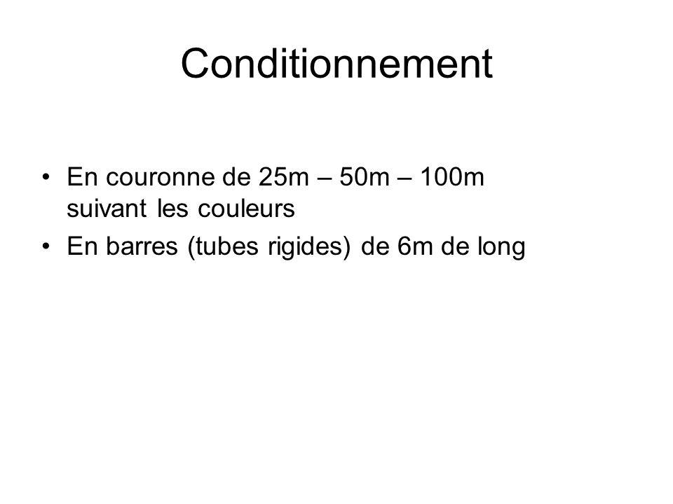 En couronne de 25m – 50m – 100m suivant les couleurs En barres (tubes rigides) de 6m de long Conditionnement