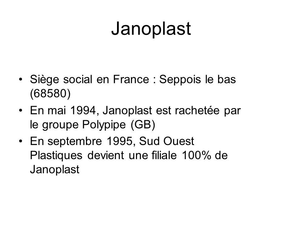 Siège social en France : Seppois le bas (68580) En mai 1994, Janoplast est rachetée par le groupe Polypipe (GB) En septembre 1995, Sud Ouest Plastique