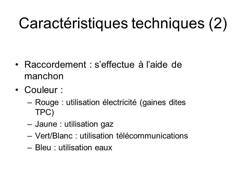 Raccordement : seffectue à laide de manchon Couleur : –Rouge : utilisation électricité (gaines dites TPC) –Jaune : utilisation gaz –Vert/Blanc : utili