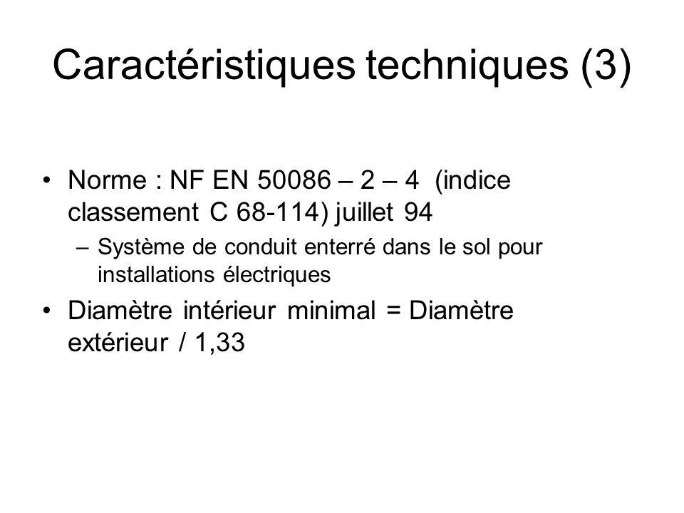 Norme : NF EN 50086 – 2 – 4 (indice classement C 68-114) juillet 94 –Système de conduit enterré dans le sol pour installations électriques Diamètre in