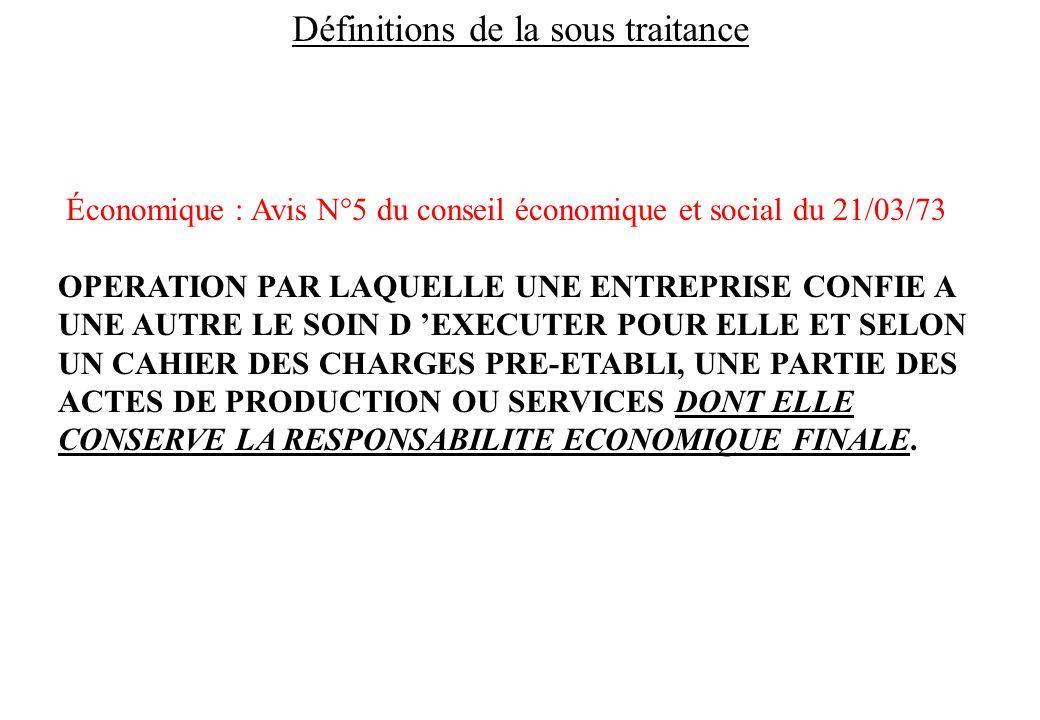 Définitions de la sous traitance Économique : Avis N°5 du conseil économique et social du 21/03/73 OPERATION PAR LAQUELLE UNE ENTREPRISE CONFIE A UNE