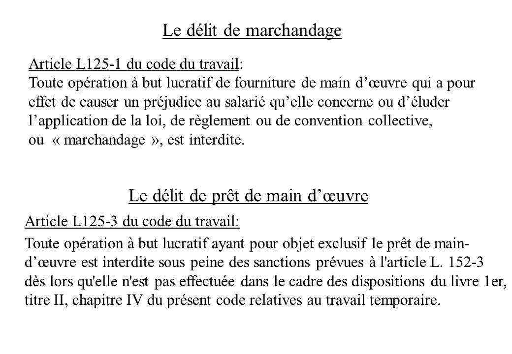 Le délit de marchandage Article L125-1 du code du travail: Toute opération à but lucratif de fourniture de main dœuvre qui a pour effet de causer un p