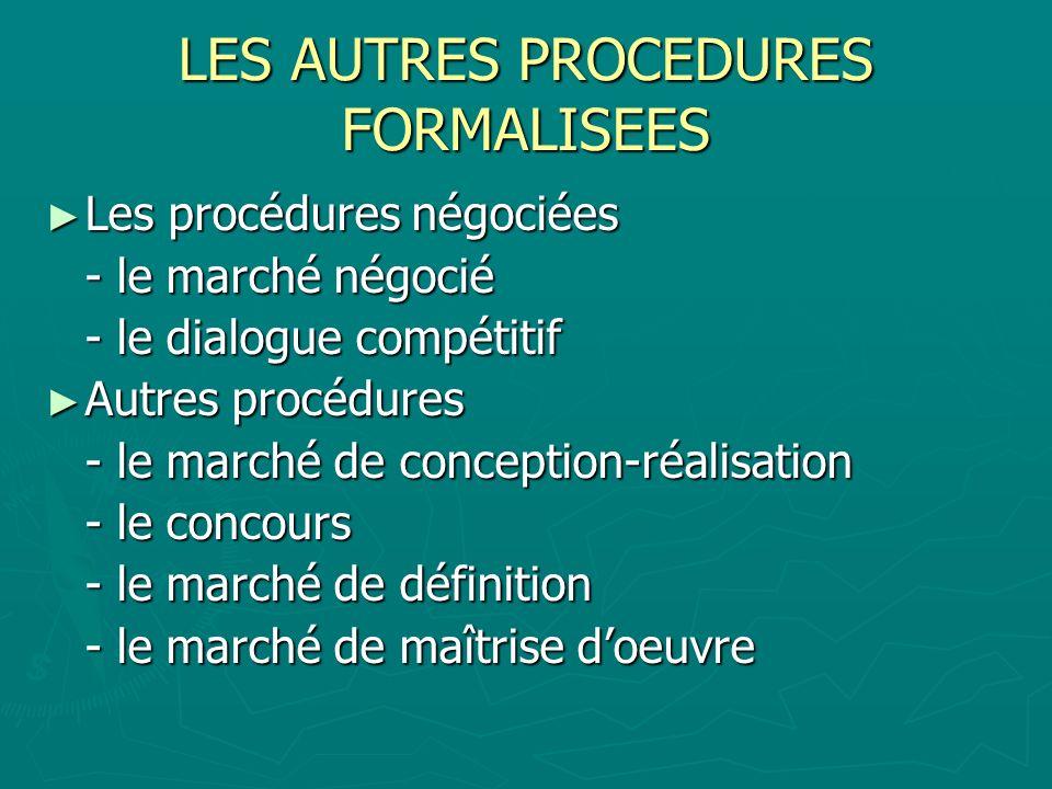 LES AUTRES PROCEDURES FORMALISEES Les procédures négociées Les procédures négociées - le marché négocié - le dialogue compétitif Autres procédures Aut