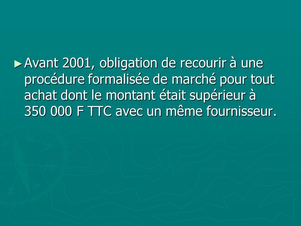 Avant 2001, obligation de recourir à une procédure formalisée de marché pour tout achat dont le montant était supérieur à 350 000 F TTC avec un même f
