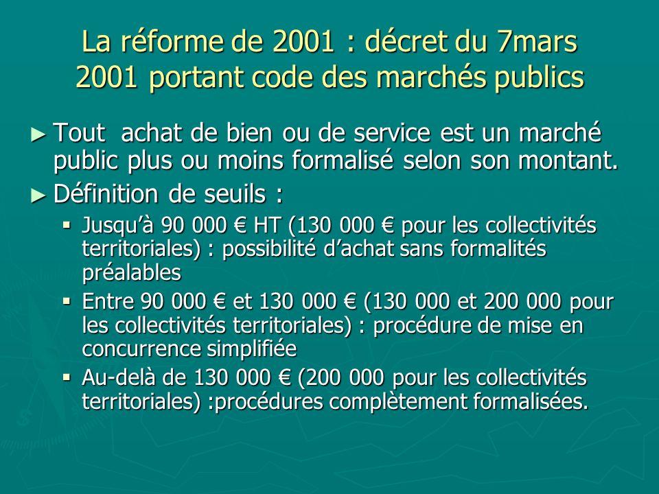 La réforme de 2001 : décret du 7mars 2001 portant code des marchés publics Tout achat de bien ou de service est un marché public plus ou moins formali