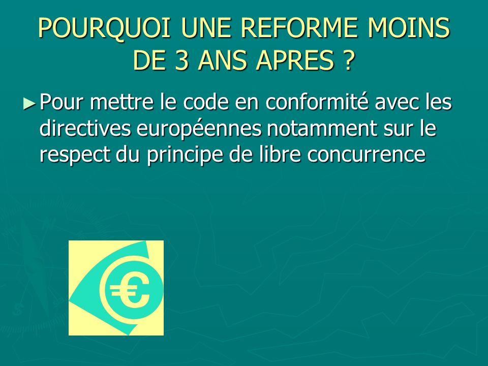POURQUOI UNE REFORME MOINS DE 3 ANS APRES ? Pour mettre le code en conformité avec les directives européennes notamment sur le respect du principe de