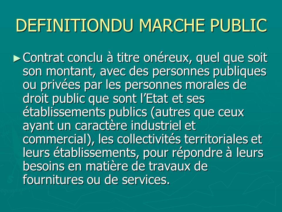 DEFINITIONDU MARCHE PUBLIC Contrat conclu à titre onéreux, quel que soit son montant, avec des personnes publiques ou privées par les personnes morale