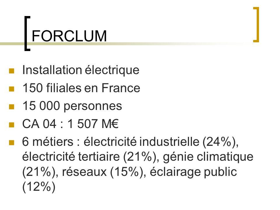 FORCLUM Installation électrique 150 filiales en France 15 000 personnes CA 04 : 1 507 M 6 métiers : électricité industrielle (24%), électricité tertiaire (21%), génie climatique (21%), réseaux (15%), éclairage public (12%)