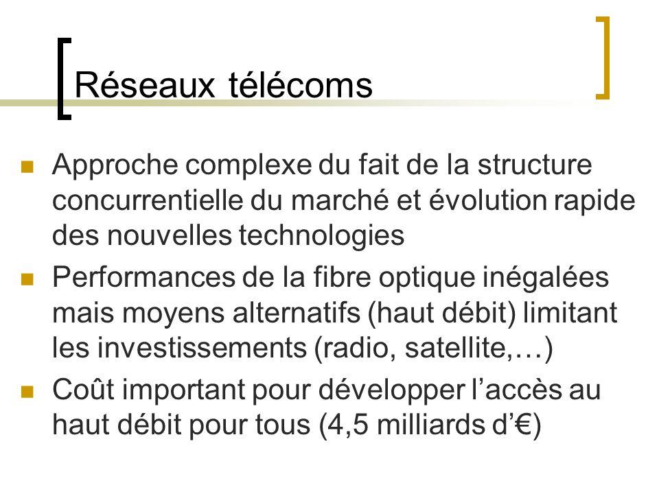 Réseaux télécoms Approche complexe du fait de la structure concurrentielle du marché et évolution rapide des nouvelles technologies Performances de la fibre optique inégalées mais moyens alternatifs (haut débit) limitant les investissements (radio, satellite,…) Coût important pour développer laccès au haut débit pour tous (4,5 milliards d)