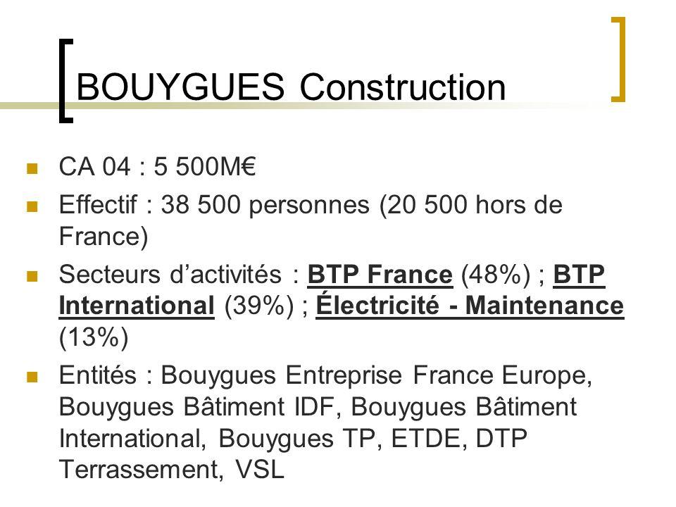 BOUYGUES Construction CA 04 : 5 500M Effectif : 38 500 personnes (20 500 hors de France) Secteurs dactivités : BTP France (48%) ; BTP International (39%) ; Électricité - Maintenance (13%) Entités : Bouygues Entreprise France Europe, Bouygues Bâtiment IDF, Bouygues Bâtiment International, Bouygues TP, ETDE, DTP Terrassement, VSL