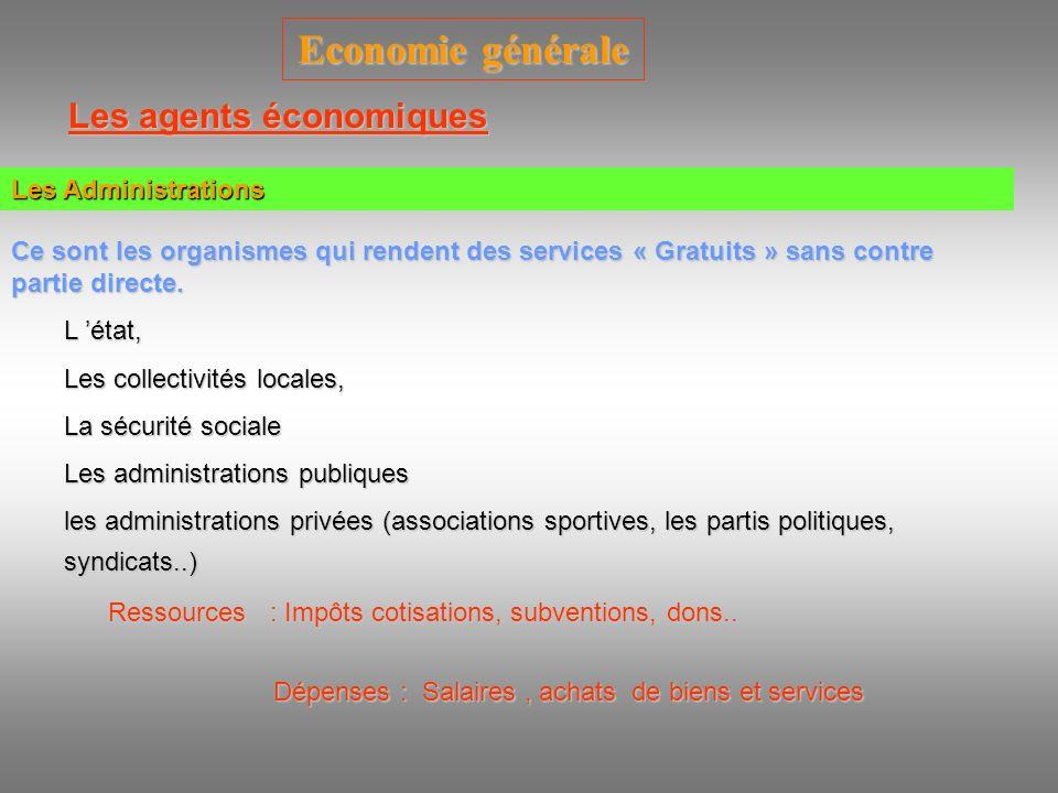 Economie générale Les agents économiques Les Institutions financières Ce sont Tous les organismes dont l activité principale est d effectuer des opérations financières et qui tirent un revenu Ressources : Intérêts, primes d assurance..