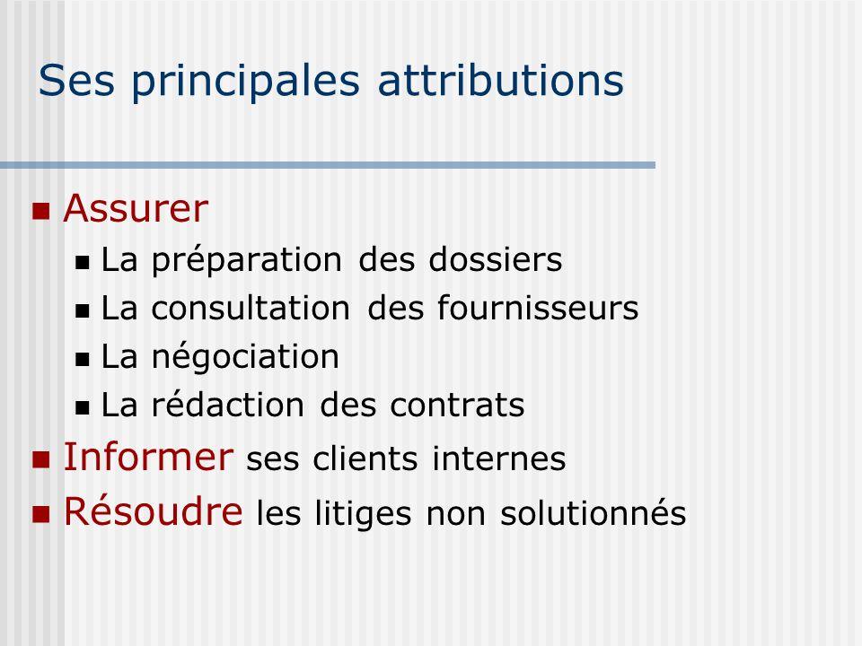 Ses principales attributions Assurer La préparation des dossiers La consultation des fournisseurs La négociation La rédaction des contrats Informer se