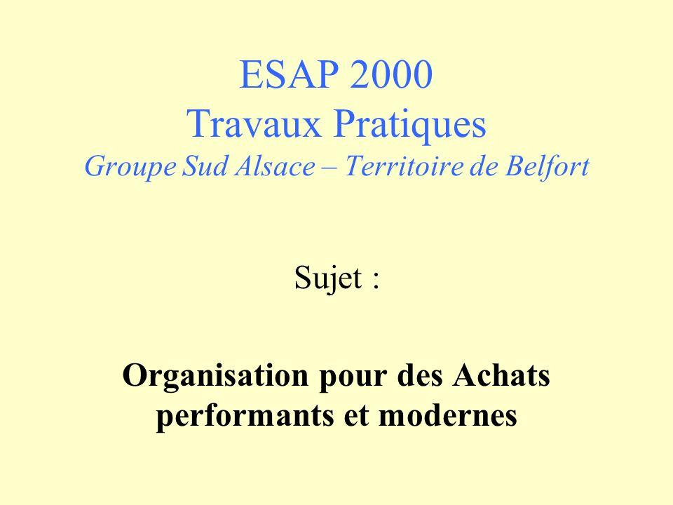 ESAP 2000 Travaux Pratiques Groupe Sud Alsace – Territoire de Belfort Sujet : Organisation pour des Achats performants et modernes