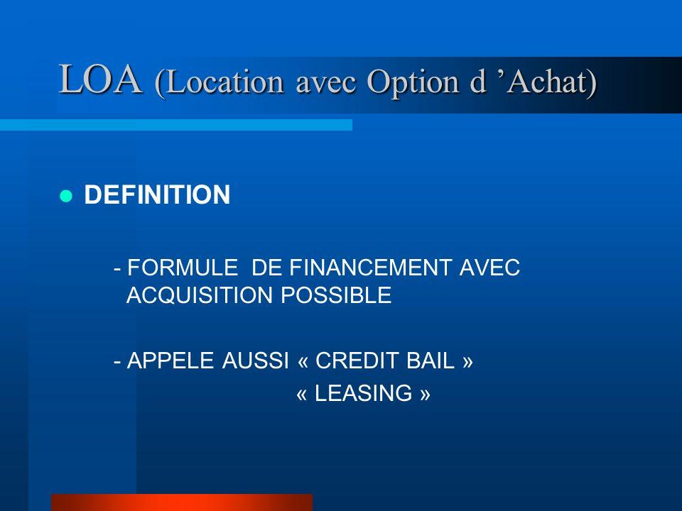 LOA (Location avec Option d Achat) DEFINITION - FORMULE DE FINANCEMENT AVEC ACQUISITION POSSIBLE - APPELE AUSSI « CREDIT BAIL » « LEASING »