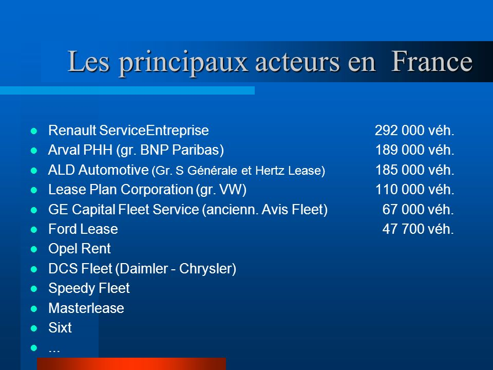 Les principaux acteurs en France Les principaux acteurs en France Renault ServiceEntreprise 292 000 véh. Arval PHH (gr. BNP Paribas) 189 000 véh. ALD