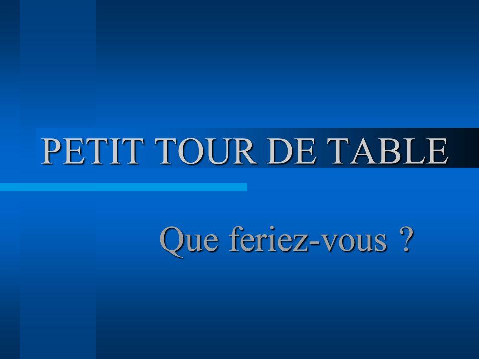 PETIT TOUR DE TABLE Que feriez-vous ?