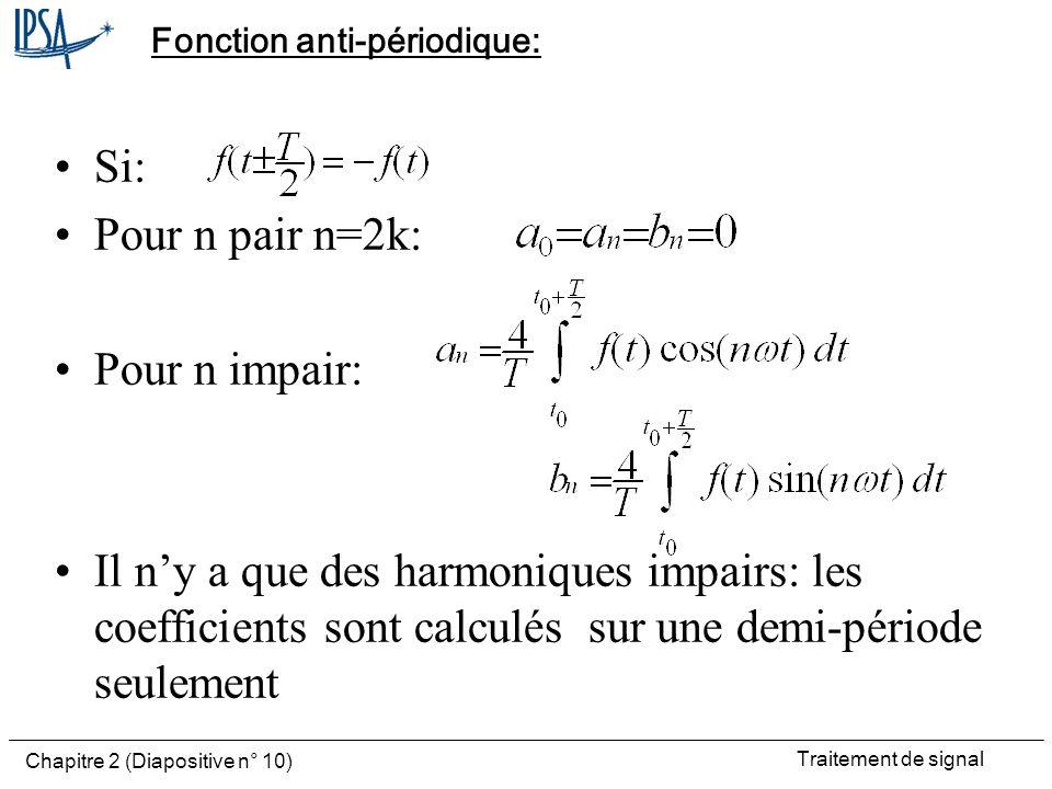 Traitement de signal Chapitre 2 (Diapositive n° 10) Fonction anti-périodique: Si: Pour n pair n=2k: Pour n impair: Il ny a que des harmoniques impairs