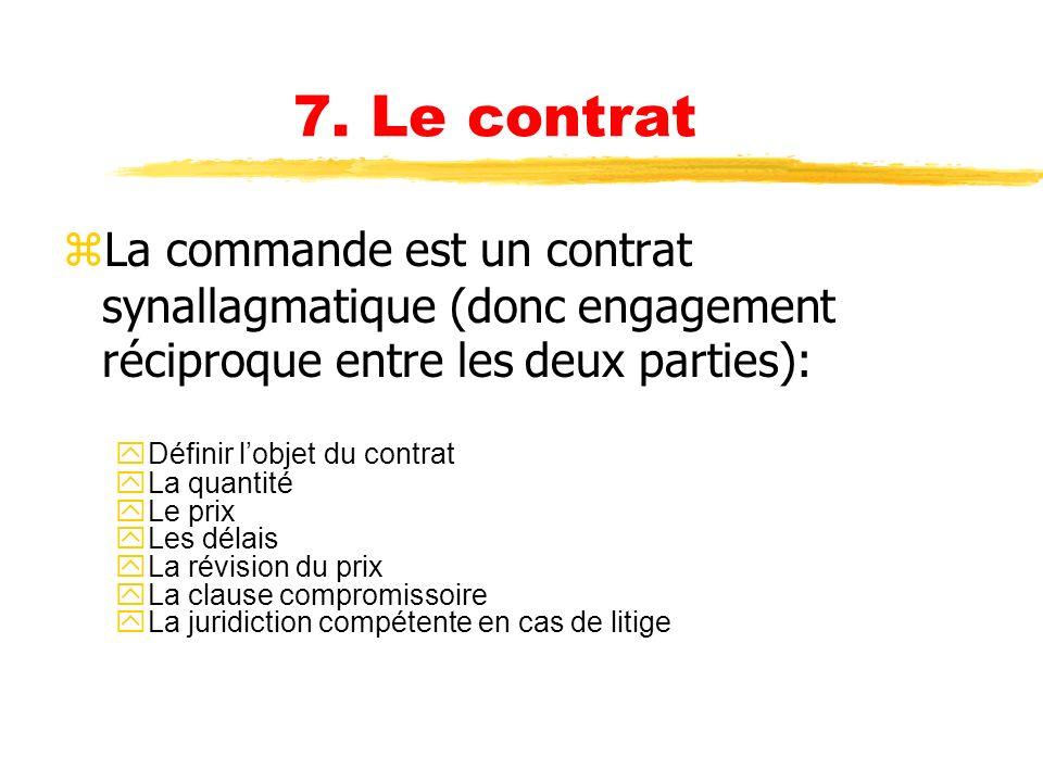 6. La négociation zCest une étape qui permet de conforter lenjeu et de limiter les risques. zElle permet également de réduire les coûts et détablir un