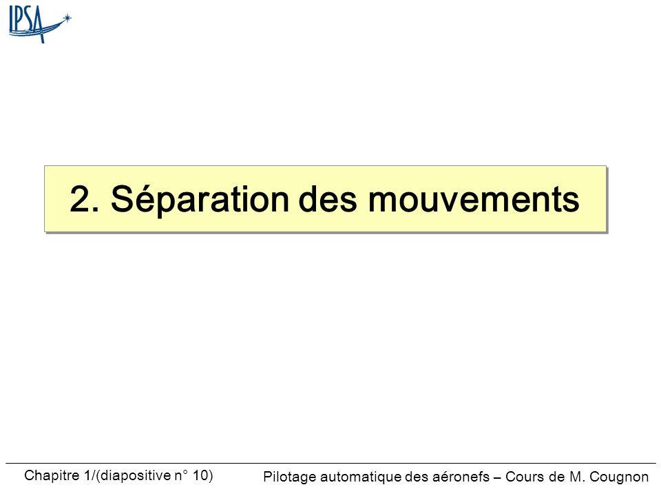 Pilotage automatique des aéronefs – Cours de M. Cougnon Chapitre 1/(diapositive n° 10) 2. Séparation des mouvements