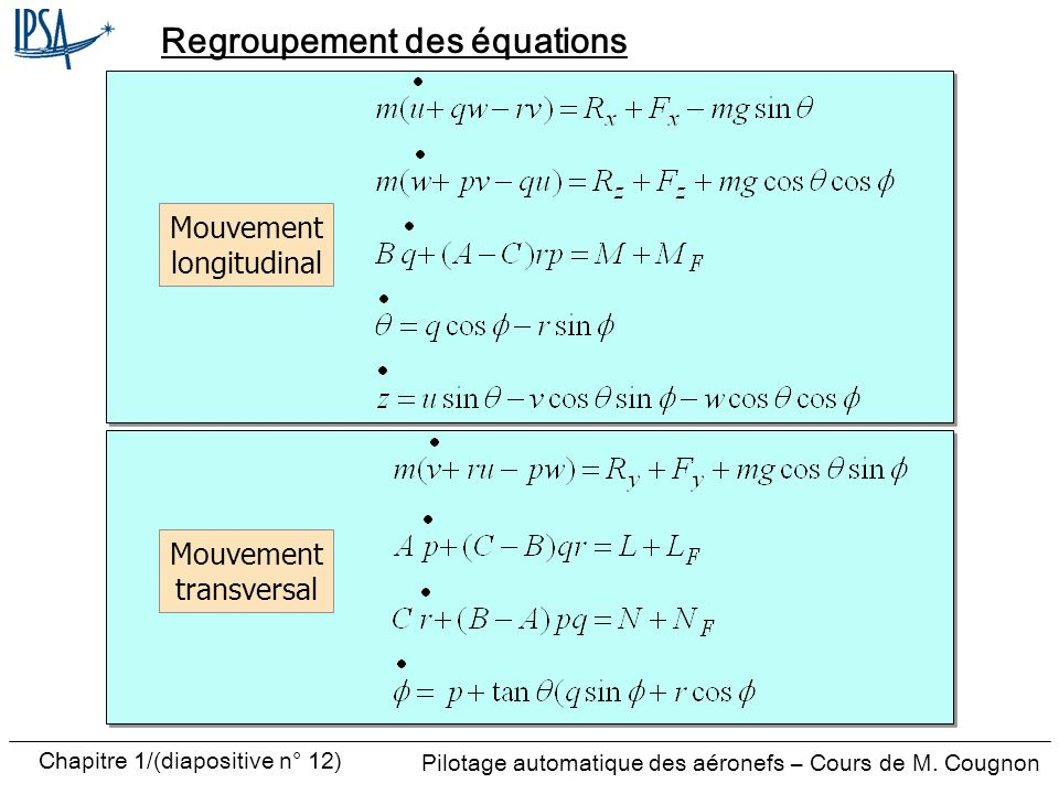 Pilotage automatique des aéronefs – Cours de M. Cougnon Chapitre 1/(diapositive n° 12) Regroupement des équations Mouvement longitudinal Mouvement tra