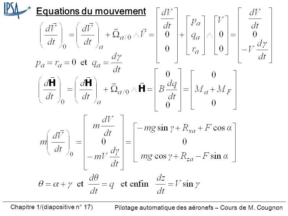 Pilotage automatique des aéronefs – Cours de M. Cougnon Chapitre 1/(diapositive n° 17) Equations du mouvement