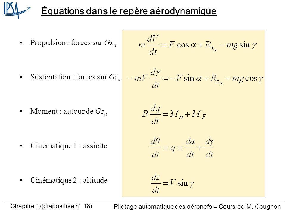 Pilotage automatique des aéronefs – Cours de M. Cougnon Chapitre 1/(diapositive n° 18) Équations dans le repère aérodynamique Propulsion : forces sur