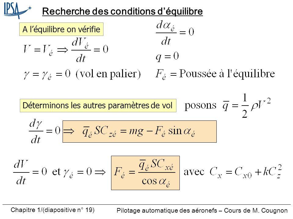 Pilotage automatique des aéronefs – Cours de M. Cougnon Chapitre 1/(diapositive n° 19) Recherche des conditions déquilibre A léquilibre on vérifie Dét