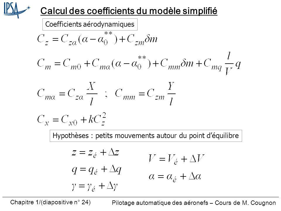 Pilotage automatique des aéronefs – Cours de M. Cougnon Chapitre 1/(diapositive n° 24) Calcul des coefficients du modèle simplifié Coefficients aérody
