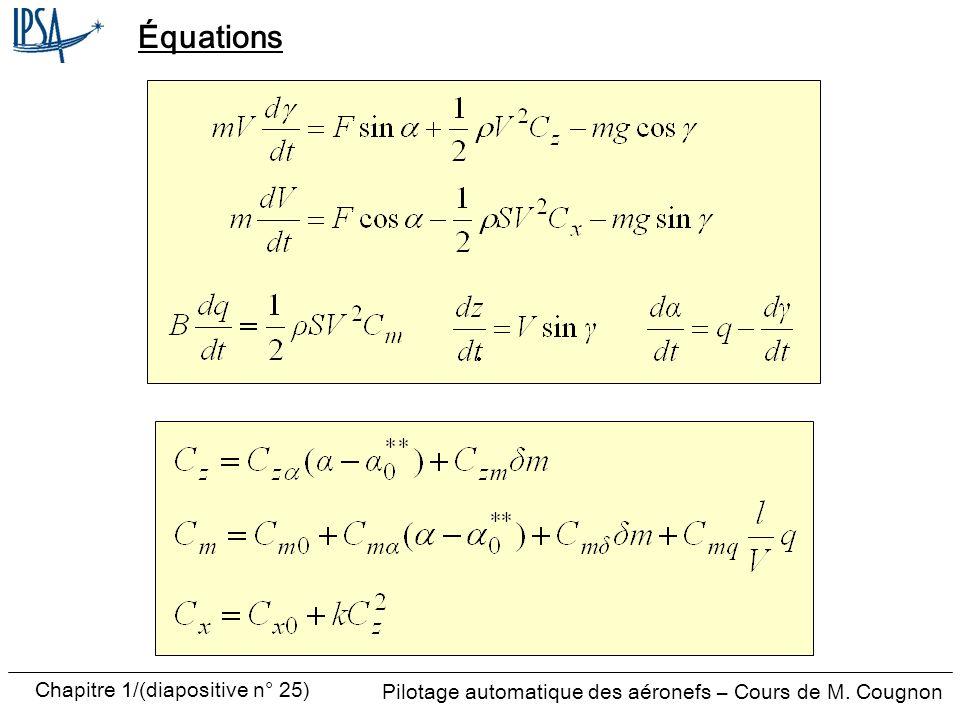 Pilotage automatique des aéronefs – Cours de M. Cougnon Chapitre 1/(diapositive n° 25) Équations