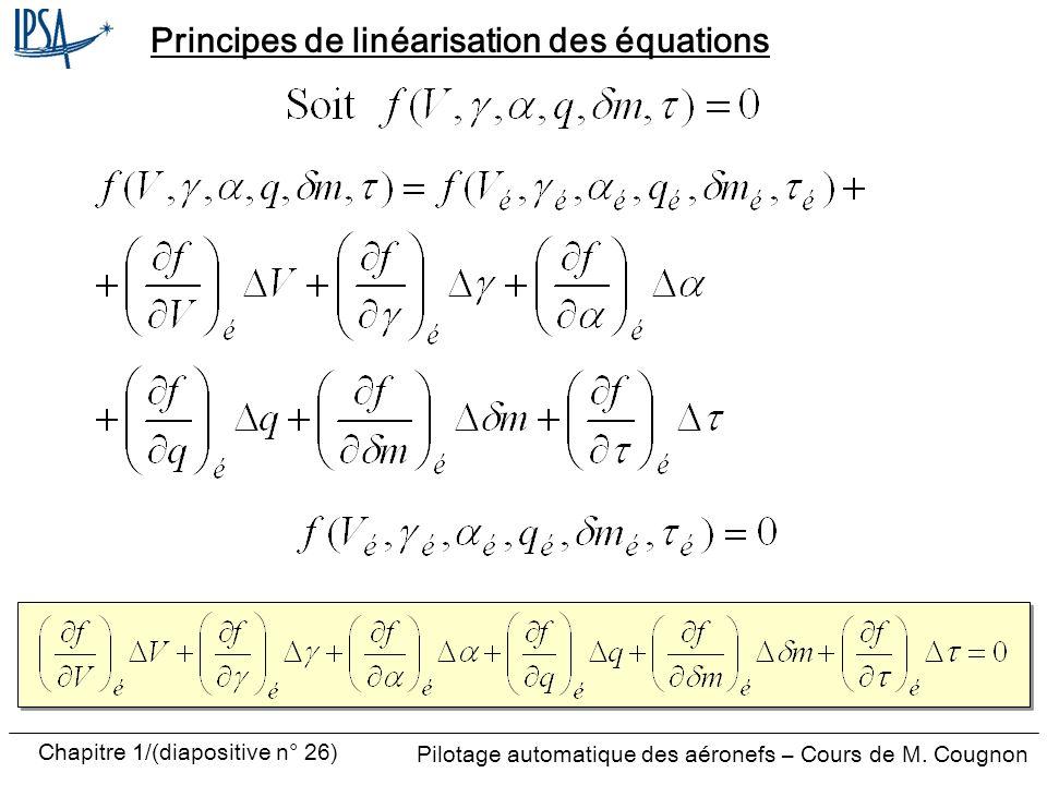 Pilotage automatique des aéronefs – Cours de M. Cougnon Chapitre 1/(diapositive n° 26) Principes de linéarisation des équations