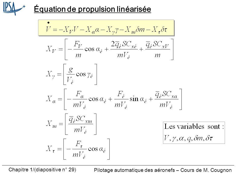 Pilotage automatique des aéronefs – Cours de M. Cougnon Chapitre 1/(diapositive n° 29) Équation de propulsion linéarisée