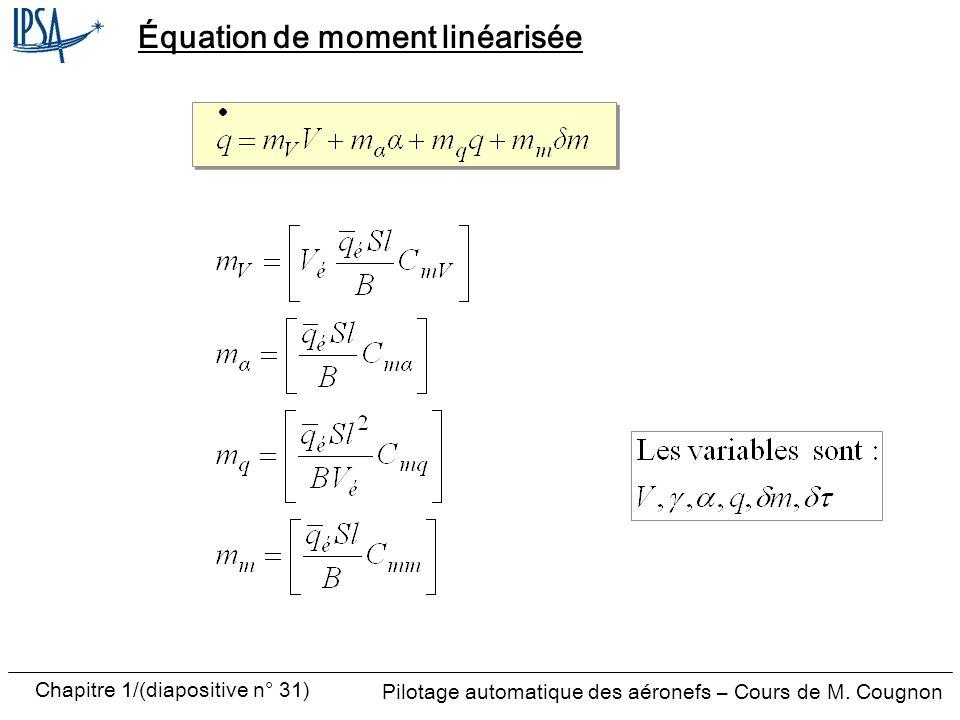 Pilotage automatique des aéronefs – Cours de M. Cougnon Chapitre 1/(diapositive n° 31) Équation de moment linéarisée