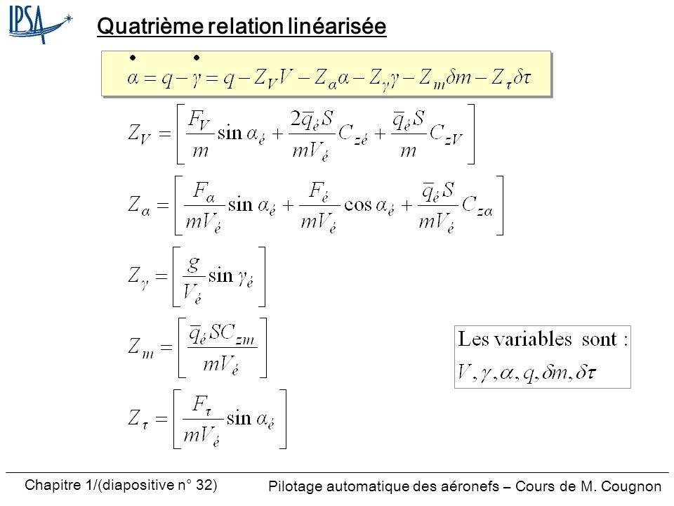 Pilotage automatique des aéronefs – Cours de M. Cougnon Chapitre 1/(diapositive n° 32) Quatrième relation linéarisée