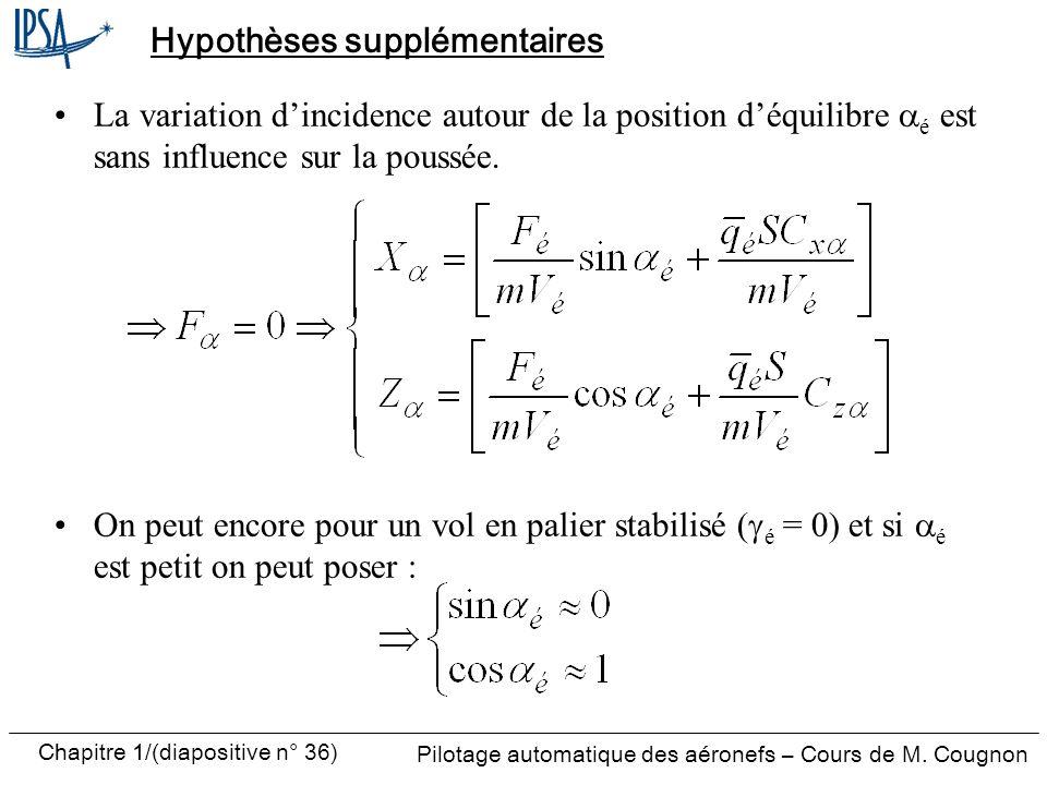 Pilotage automatique des aéronefs – Cours de M. Cougnon Chapitre 1/(diapositive n° 36) Hypothèses supplémentaires La variation dincidence autour de la