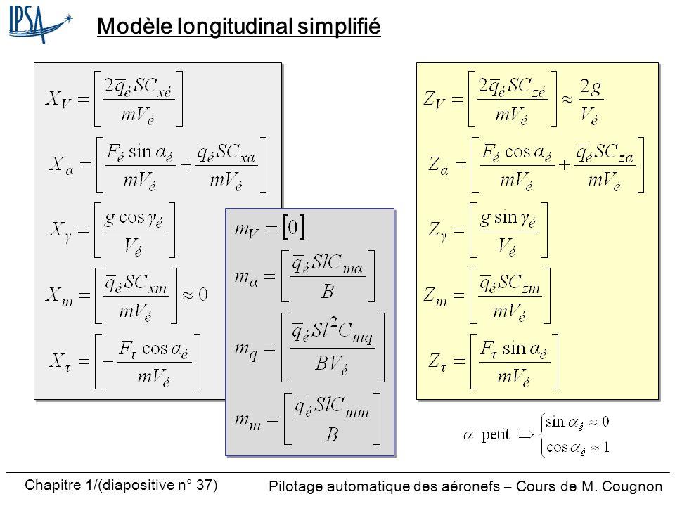 Pilotage automatique des aéronefs – Cours de M. Cougnon Chapitre 1/(diapositive n° 37) Modèle longitudinal simplifié