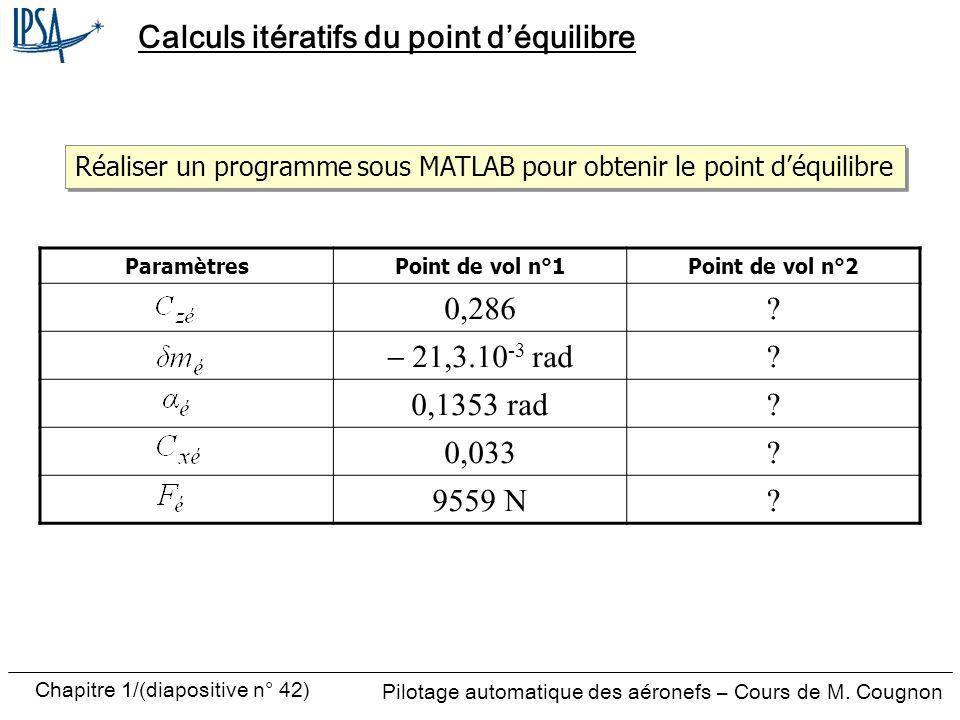Pilotage automatique des aéronefs – Cours de M. Cougnon Chapitre 1/(diapositive n° 42) Calculs itératifs du point déquilibre ParamètresPoint de vol n°