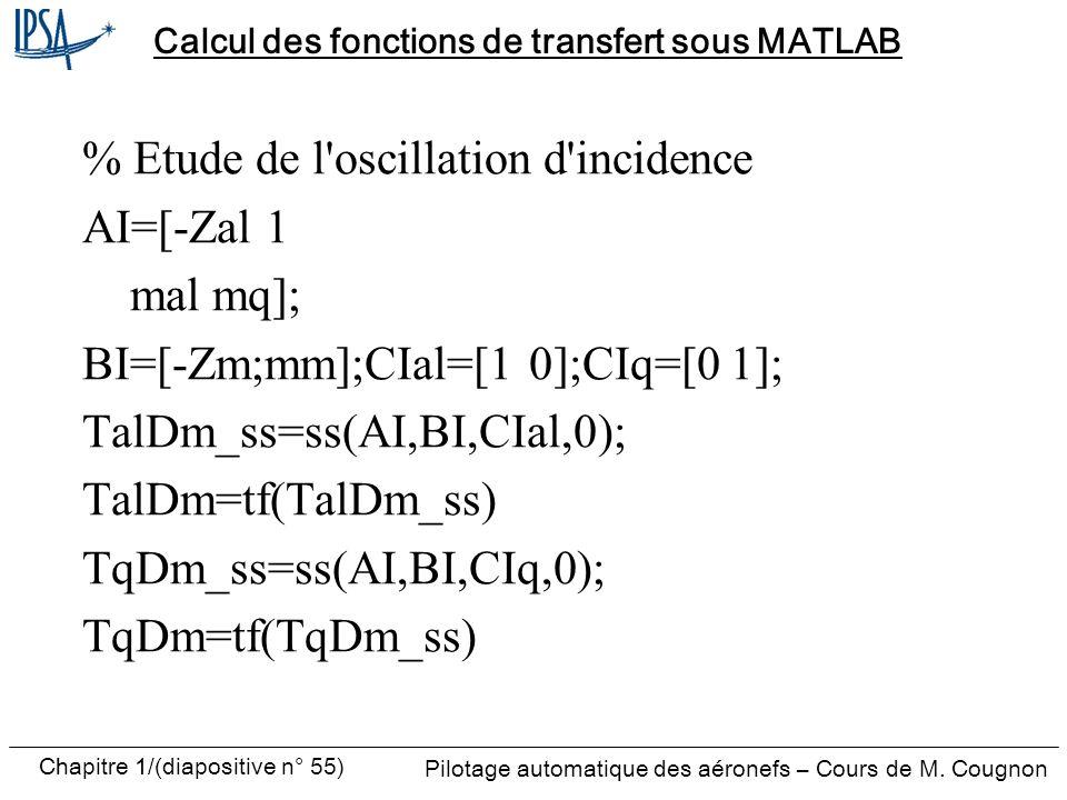Pilotage automatique des aéronefs – Cours de M. Cougnon Chapitre 1/(diapositive n° 55) Calcul des fonctions de transfert sous MATLAB % Etude de l'osci