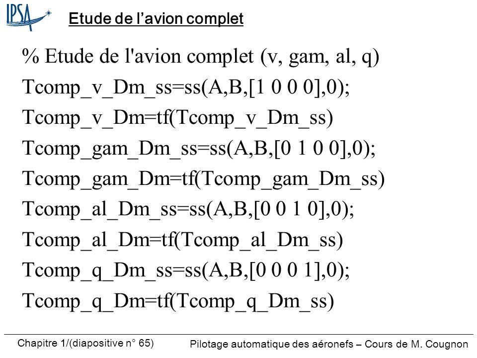 Pilotage automatique des aéronefs – Cours de M. Cougnon Chapitre 1/(diapositive n° 65) Etude de lavion complet % Etude de l'avion complet (v, gam, al,