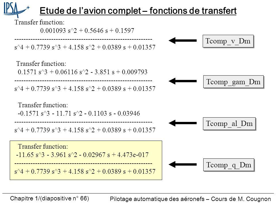 Pilotage automatique des aéronefs – Cours de M. Cougnon Chapitre 1/(diapositive n° 66) Etude de lavion complet – fonctions de transfert Transfer funct
