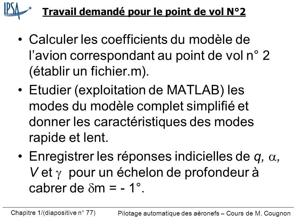 Pilotage automatique des aéronefs – Cours de M. Cougnon Chapitre 1/(diapositive n° 77) Travail demandé pour le point de vol N°2 Calculer les coefficie