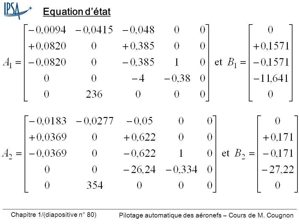 Pilotage automatique des aéronefs – Cours de M. Cougnon Chapitre 1/(diapositive n° 80) Equation détat