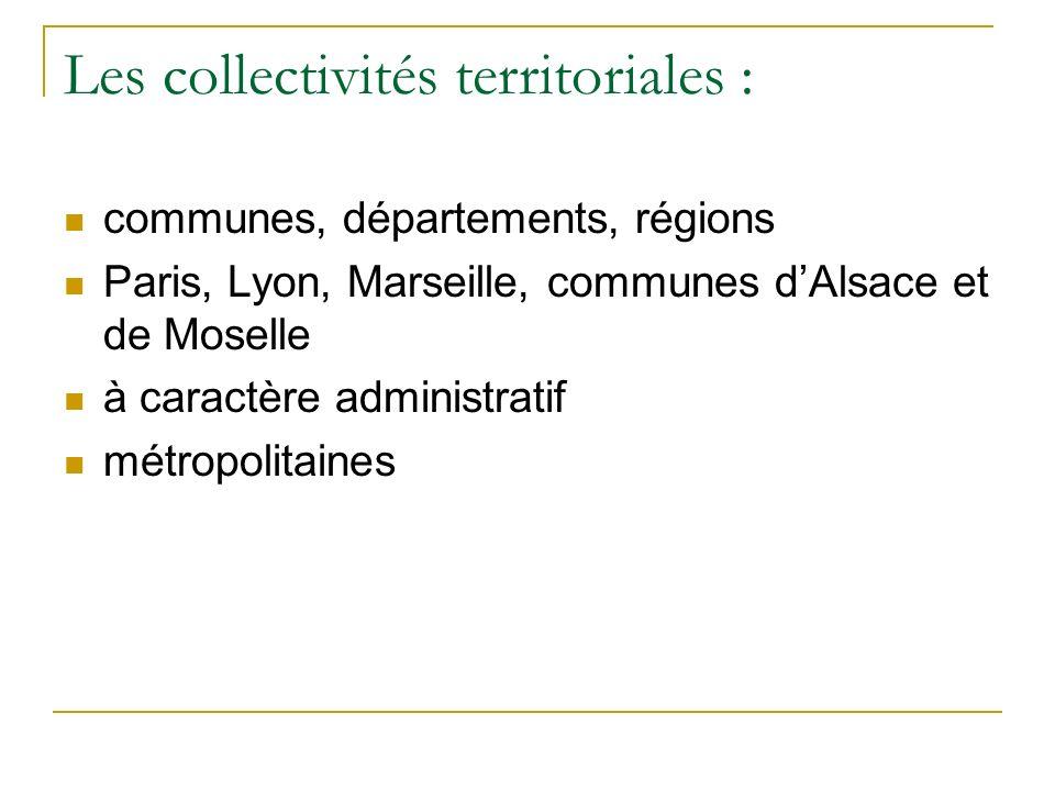 Les collectivités territoriales : communes, départements, régions Paris, Lyon, Marseille, communes dAlsace et de Moselle à caractère administratif métropolitaines