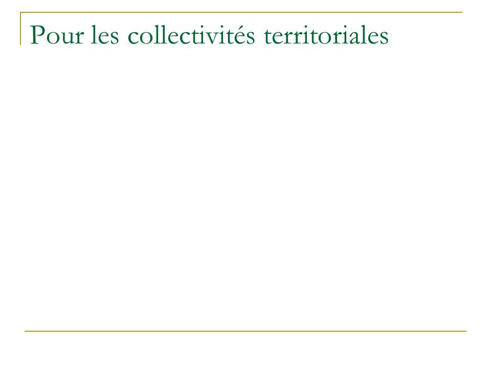 Pour les collectivités territoriales