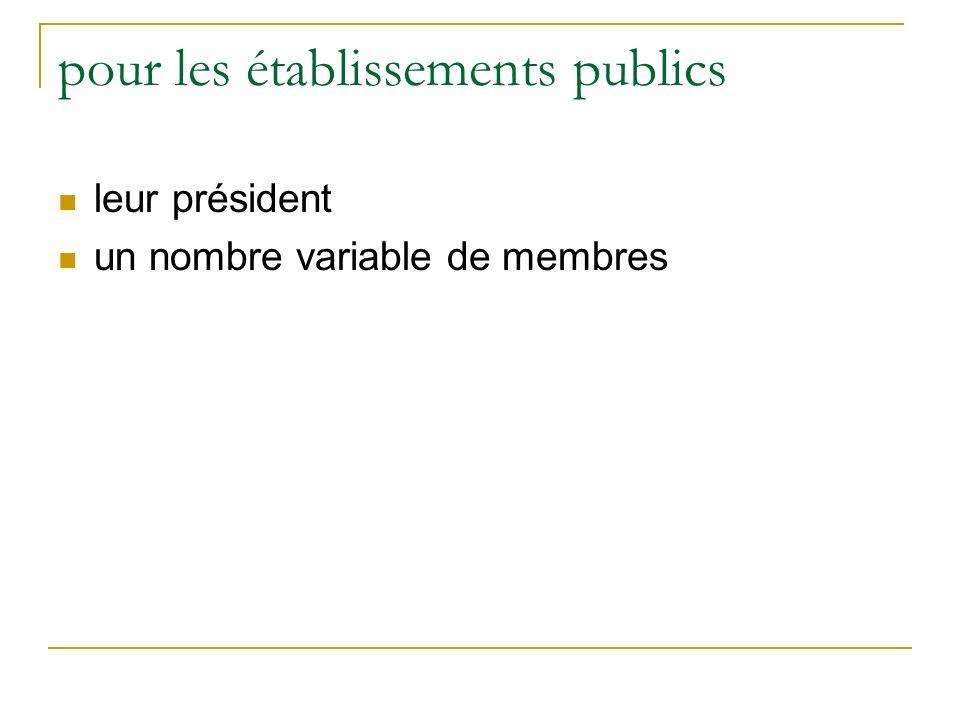 pour les établissements publics leur président un nombre variable de membres